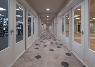hallway to exercise rooms
