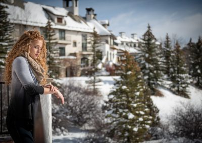 woman at a lodge in the winter
